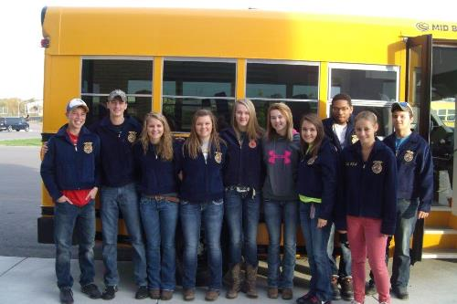 WDC FFA members attending Region II Fall Leadership Rally recently, from left to right: Zac Schertler, Josh Brink, Madison Barthel, MacKenzie Barthel, Olivia Schwartz, Rachel Schwartz, Whitney Eickhoff, Jordan Folkestad, Barbara Zick, and Presley Sleyster.  Not pictured: Richard Muckala, FFA advisor,