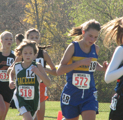 WDC's Emma Schmitz at the State Cross Country Meet, Nov. 2 in Northfield, Minn. Photo by Briana Malone.