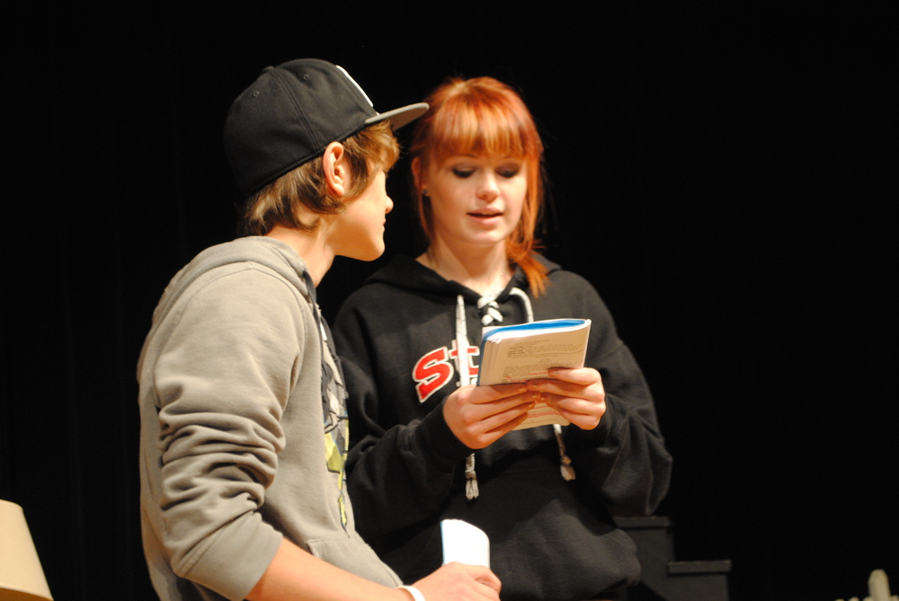 "Joey (Mitchel Haman) and Nora (Samantha Kirkland) rehearse their lines for the upcoming WDC musical, ""Don't Stop Believin'! "" Students put countless hours in after school and evenings rehearsing for the fall play."