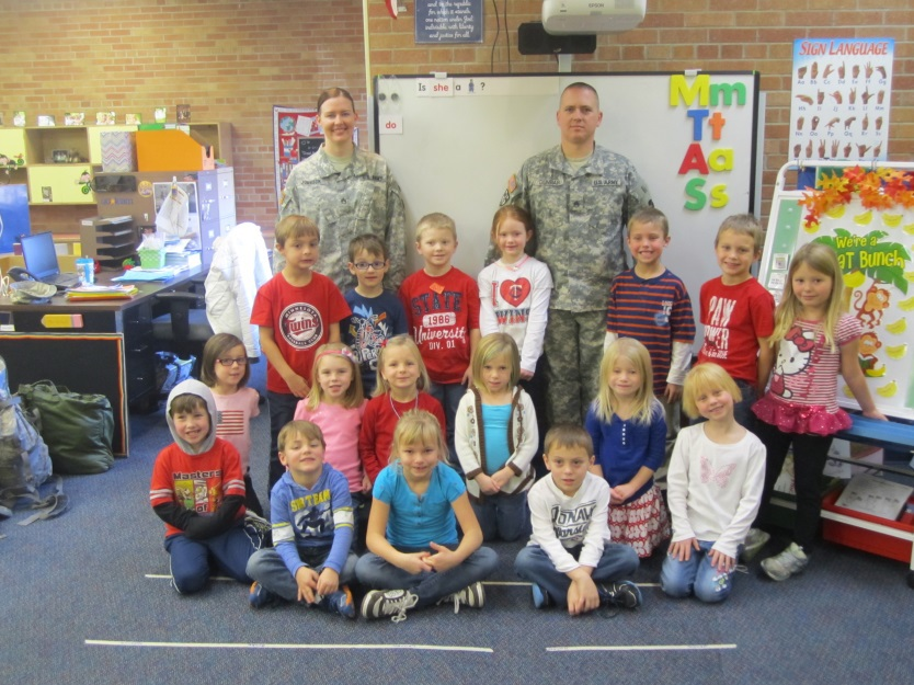 U.S. Army service woman Sandra Johnson and U.S. Army service man Daryl Dunbar spoke to Mrs. Gallant's class today in honor of Veterans Day.