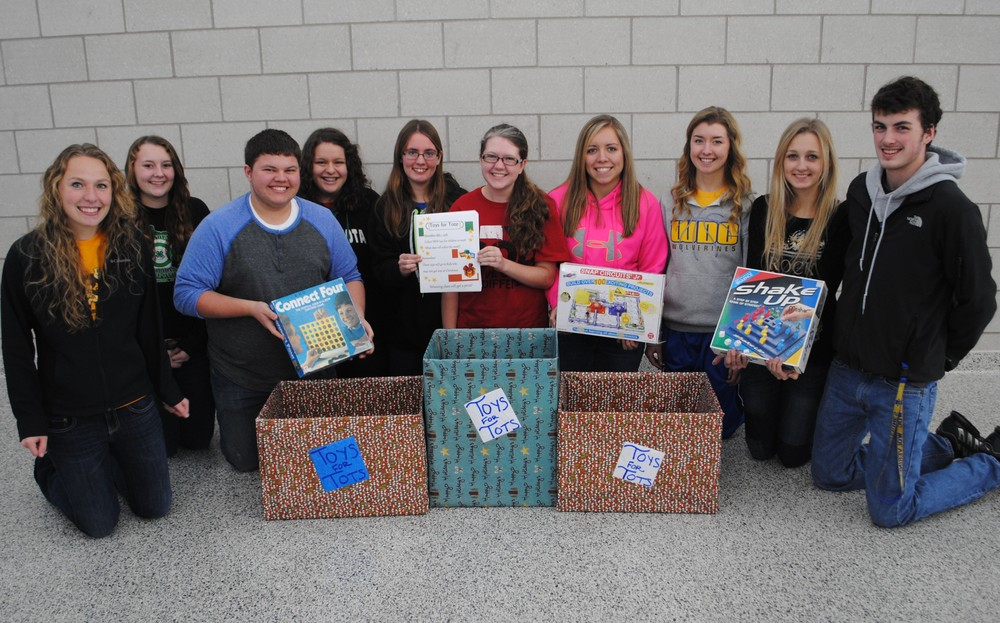 Kicking off the BPA Toys for Tots Drive on Monday, Nov. 18, are BPA members, from left: Paige Hartman, Jessica Langer, Austin Hendershot, Anna Kraemer, Ashley Peters, Elise Kallevig, Maddy Hinojos, Carrie Nelson, Marissa Jahnke and Matthew Quincer. Not pictured: Brandee Bly.