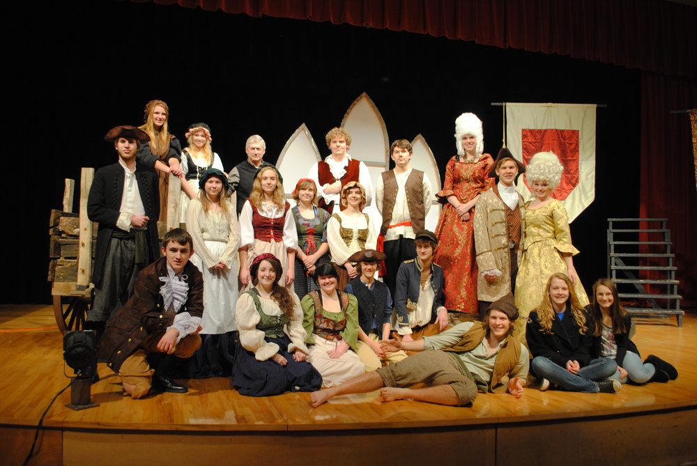 "The cast and crew of WDC High School's one-act play, ""Marie Antoinette,"" include, front row, from left, kneeling: Michael Small, Hope Norenberg, Hope Dumpprope, Mitchel Haman, Adam Leverson, Josiah Berger, Taylor Dirks and Sandra Kucharccyk; second row, from left: Jordan Geiser, Alyssa Gilster, Marie Hunt, Katelyn Windels, Sarah Decock, Isaac Berger and Samantha Kirkland; back row, from left: Beth Schmitz, Anissa Mench, Jay Patterson, director; Aaron Beck, David Wegscheid and AJ Tollefson. (Photos by Dana Pavek, WDC Schools)"