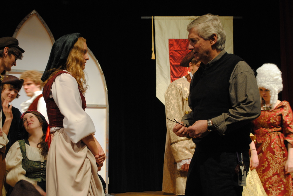 "Director Jay Patterson, right, provides Marie Hunt, who plays a peasant, some advice during a recent rehearsal of ""Marie Antoinette"" at Wadena Memorial Auditorium."