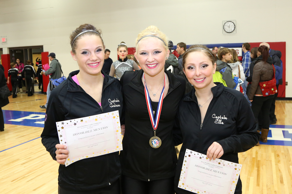 Wadena-Deer Creek dance team members receiving recognition at the Northern Lights Conference Championship recently were Autumn Jahnke, Kristyn Ament and Ella Harrison. (Photo by Cheryl Harrison)