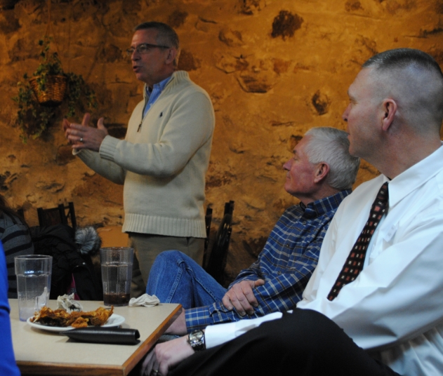 Craig Lindvahl talked to Wadena business and community leaders about the CEO program Thursday. Looking on is Pat Hunke of Hunke's Transfer Inc. and Trevor Zastrow from Central Minnesota Credit Union. (Photo by Dana Pavek, WDC Schools)