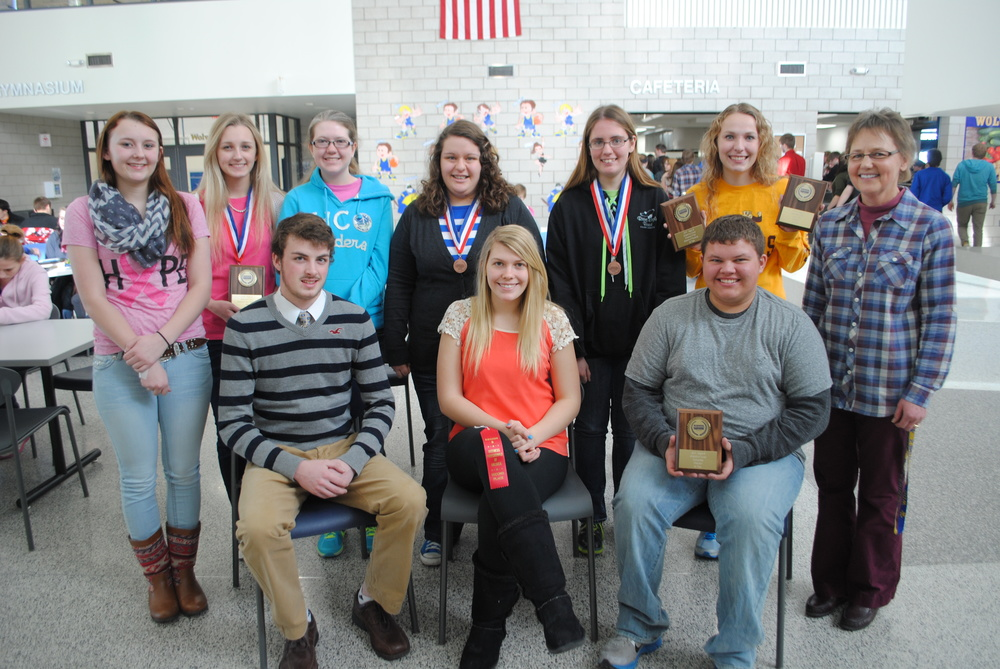 Wadena-Deer Creek BPA students who participated in Region 6 contest recently included, front row, from left: Matthew Quincer, Brandee Bly and Austin Hendershot; back row, from left: Jessica Langer, Marissa Jahnke, Elise Kallevig, Anna Kraemer, Ashley Peters, Paige Hartman, and Nancy Peterson, BPA advisor.