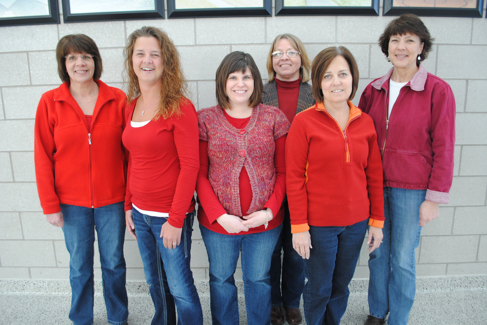 "Wadena-Deer Creek staff wore red for ""Go Red for Women"" Day, Feb. 7 in honor of women's heart disease. Pictured, from left: Mary Fix, Kelly Shrode, Ashley Mumm, Vicky Schmitz, Donna Sartell and Kristi Ice. (Photo by Dana Pavek, WDC Schools)"