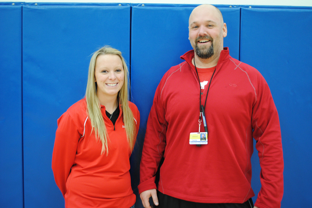 "Wadena-Deer Creek physical education teachers Katie Hill and Dirk Schulz donned red for ""National Wear Red for Women"" Day, Feb. 7. (Photo by Dana Pavek, WDC Schools)"