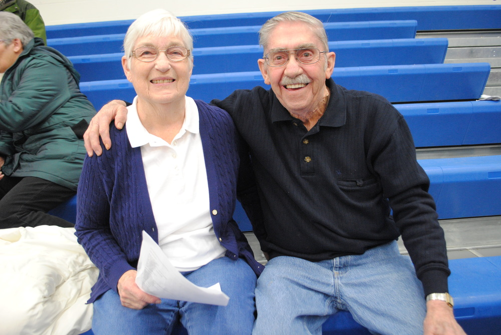 Janette and Harlyn Hanson cheered on the Wolverines -- and the basketball referee! -- at Friday night's girls' basketball game at Wadena. Their son, Rodney, was officiating the WDC girls' basketball game and is a notable Wadena alumnus.