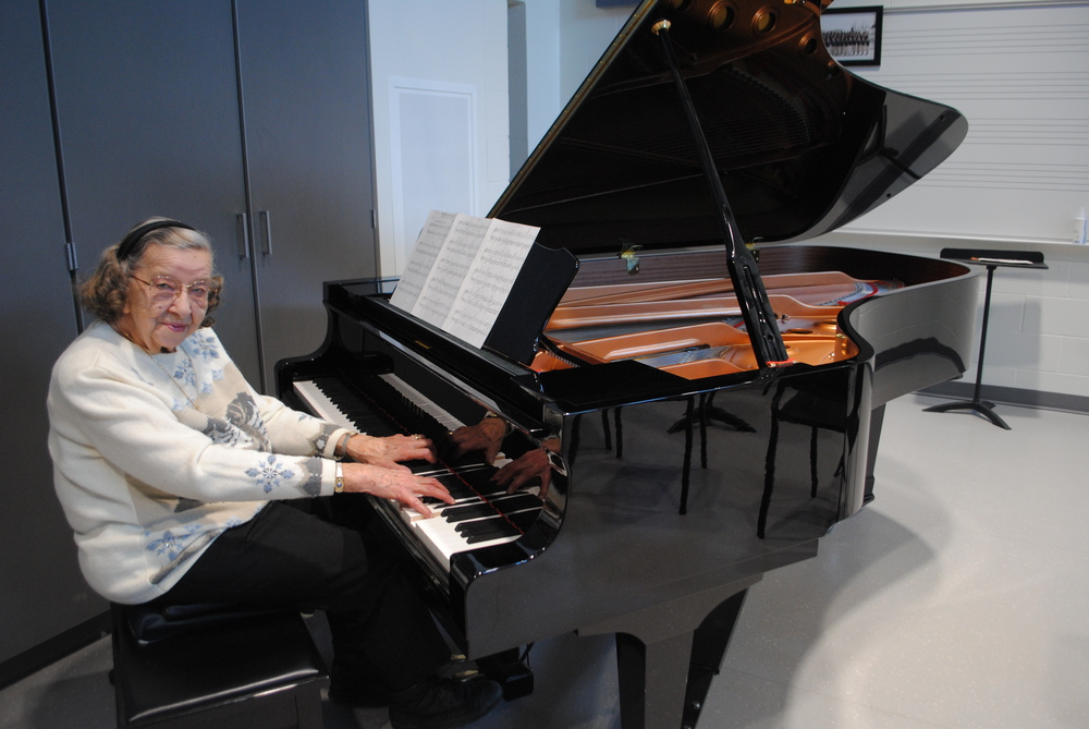 Irma Allen began playing the piano when she was 6 years old. She is still playing piano today at the age of 93.  (Photos by Dana Pavek, WDC Schools)