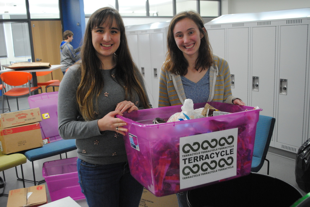 Wadena-Deer Creek High School seniors Brittany Andrews, left, and Ashley Carlson are wrapping up their community-wide recycling project on April 25. The NHS students said they've received great support for the drive from the school and community and are hoping another NHS student will carry on the project next year. (Photos by Dana Pavek, WDC Schools)