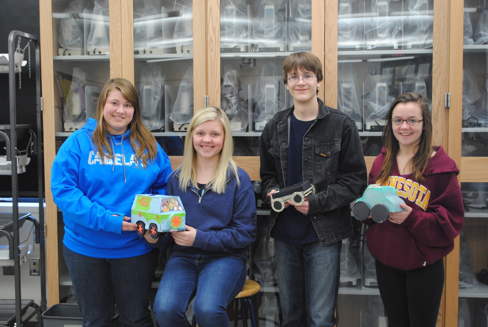 From left, Kirsten Peterson, Gabi Ross, Stephen Spilman and Bailey Blessing finished in the top three spots in their race car tournament in Mrs. Holst's physical science class. (Photos by Dana Pavek, WDC Schools)
