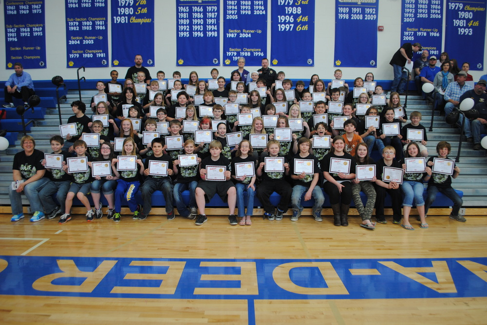 Seventy-seven students graduated from the DARE program on April 9 at WDC Middle School. (Photos by Dana Pavek, WDC Schools)