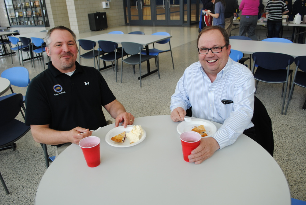 It's been a tradition for WDC Activities Director Norm Gallant and Social Studies Teacher Brian Maki to sit down together and enjoy their FFA pie.