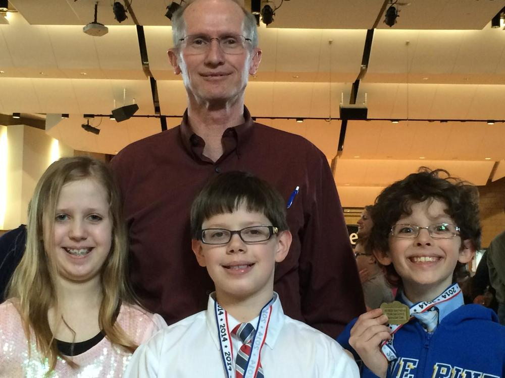 WDC sixth-grade band students who participated in the band festival, along with their band teacher, Ken Nelson (pictured) were, from left: Maggie Carlson, Sean Carlson and Michael Schmidt. (Photo by Paul Carlson)