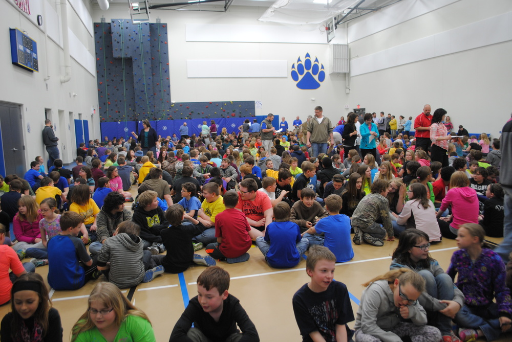 More than 600 students and staff took shelter in WDC's Auxiliary Gym Thursday afternoon during the statewide tornado drill. Teachers had the responsibility of checking off students' names to ensure everyone was safe and accounted for during the drill.