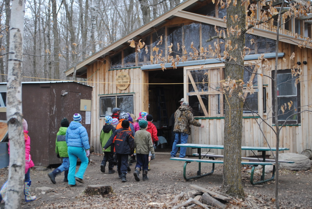 WDC third-graders arrive at Les Schwartz's sugar shack, which is located about 2 miles southeast of Sebeka. (Photos by Dana Pavek, WDC Schools)