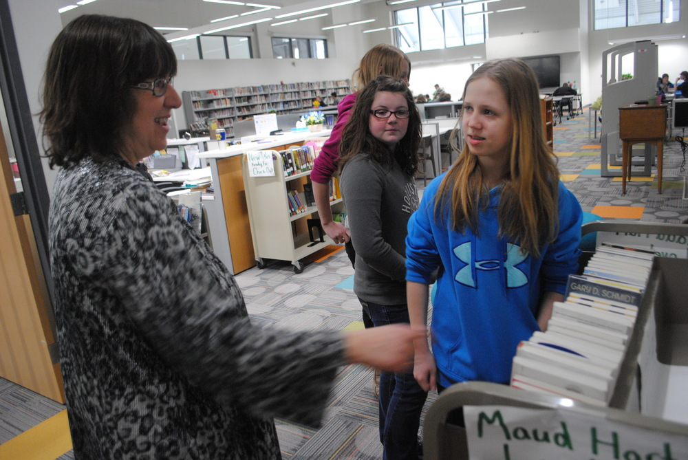 Media Center Specialist Loni Niles shares with Maggie Carlson this year's Maud Hart Lovelace book winners -- always an anticipated announcement!