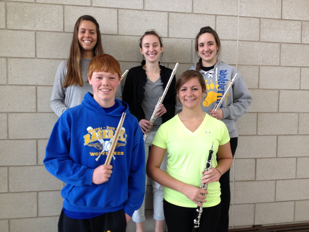 "Section/State solo and ensemble band participants who earned ""superior ratings"" were, front row: Tyler Wheeler, snare drum solo; and Abby Wegscheid, oboe solo; back row, Maria Garces Cubells, Ashley Carlson and Brittany Andrews, flute trio.  (Photos by Lisa Weniger, WDC Schools)"