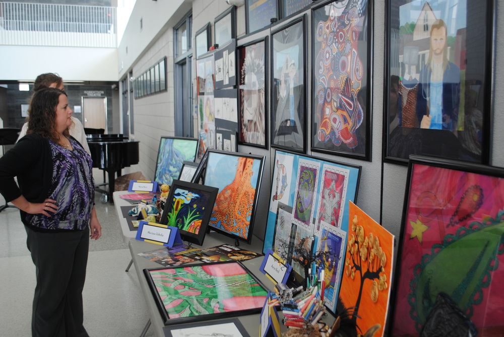 At the fine arts banquet, WDC Visual Arts Teacher Laurie Kopischke-Pulju set up an interesting display of students' artwork for parents to enjoy.