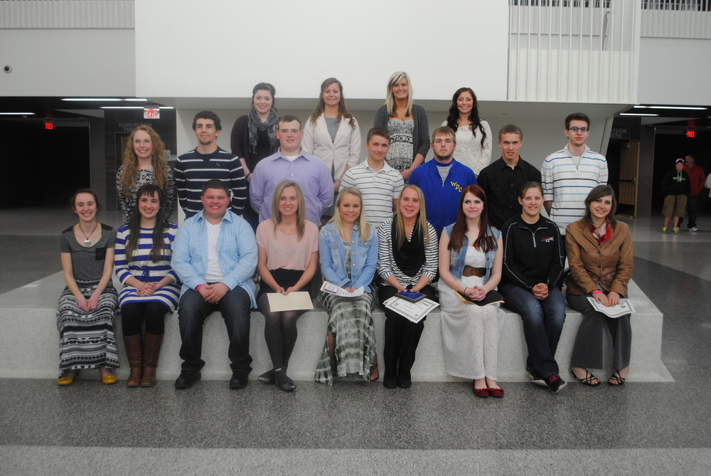 Wadena-Deer Creek High School seniors are shown here at the annual WDC Senior Awards Recognition Program on May 14. Sitting, from left: Ashley Carlson, Brittany Andrews, Austin Hendershot, Heather Theisen, Sydney Schissel, Hope Theisen, AJ Tollefson, Michaela Lehmkuhl, and Katelyn Windels; middle row, from left: Paige Hartman, Isaac Laughlin, Ricky Price, Thane Swisse, Wyatt Weber, Jason Pedersen and Jordan Geiser; back row, from left: Miranda Miller, Abby Wegscheid, Jessie Iken and Ella Harrison. Not pictured: Jacob Goeden and Wesley Janson. (Photo by Dana Pavek, WDC Schools)