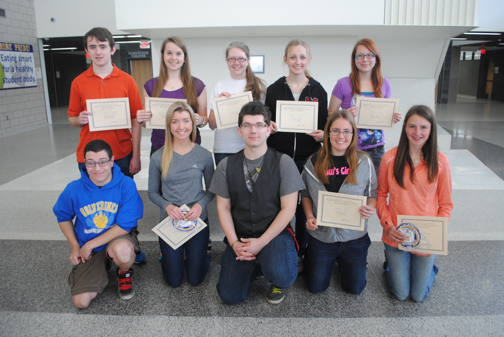 Juniors who were honored at the recognition breakfast were, back row, from left: Michael Small, Jennifer Craig, Elise Kallevig, Marissa Jahnke, and Alyssa Gilster; front, from left: Brenden McLeod, Carrie Nelson, David Wegscheid, Ashley Peters and Emma Schmitz. Not pictured Jodana Albers, Samantha Kirkland and Ian Olson.