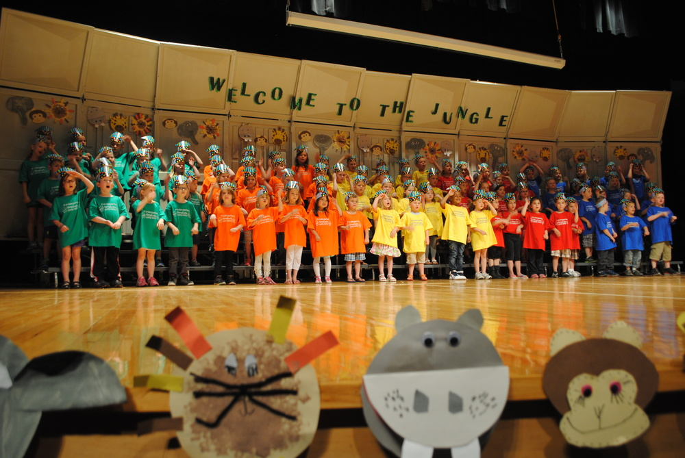 WDC Kindergartners performing jungle-themed songs at their Kindergarten Graduation Ceremony Tuesday afternoon in Wadena Memorial Auditorium. (Photos by Dana Pavek, WDC Schools)