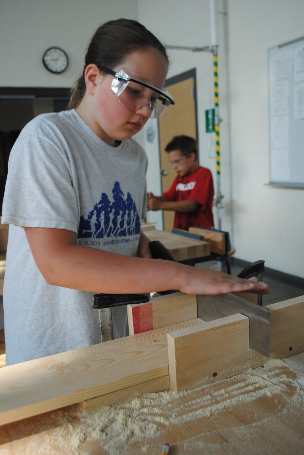 "Kaylin Lupkes carefully saws a pine board using a miter box during the ""Building Birdhouses for Backyard Birds."""