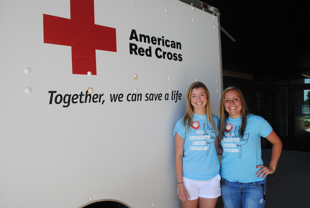 WDC seniors Carrie Nelson and Maddy Hinojos organized the a blood drive as their National Honor Society community service project. They learned just how important blood donations are to patients in need.  (Photos by Dana Pavek, WDC Schools)