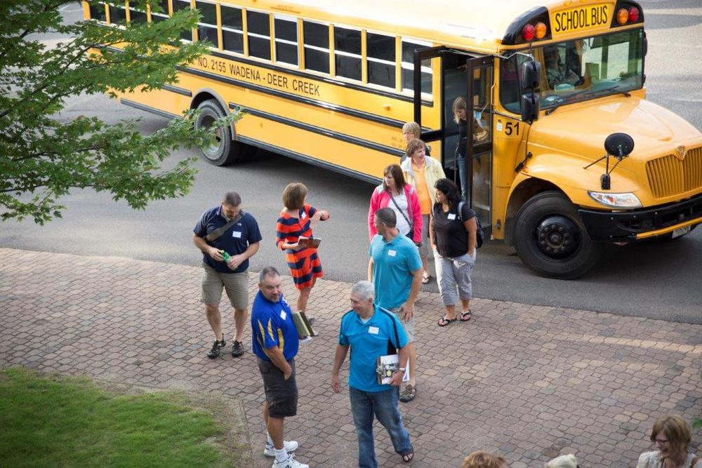 WDC teachers arriving at the workshop in two WDC school buses on Thursday, Aug. 28 at Madden's. (Courtesy photo)