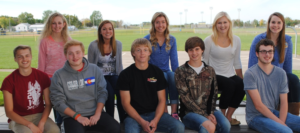 The 2014 Homecoming candidates are, from left: Brody Wangsness, Marissa Jahnke, Wade Piper, Shaye Blessing, Michael Moen, Carrie Nelson, Austin Koljonen, Kristyn Ament, Matthew Quincer and Jennifer Craig. (Photo by Dana Pavek, WDC Schools)