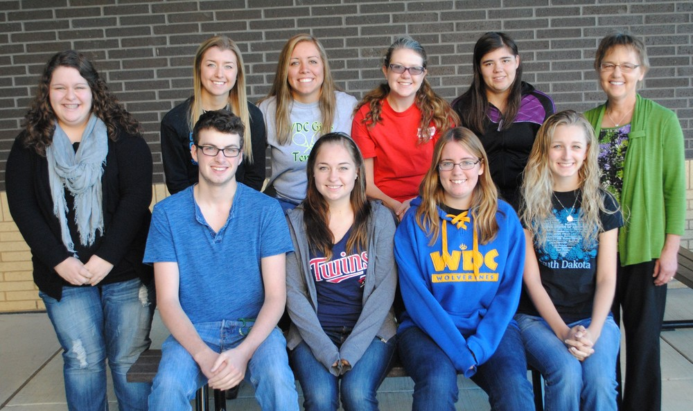 Members and officers of the 2014-15 WDC Business Professionals of America (BPA) organization are, from left, sitting: Matthew Quincer, Kylie Lupkes, Ashley Peters and Marissa Jahnke; back, from left: Anna Kraemer, vice president; Carrie Nelson, public relations; Maddy Hinojos, Elise Kallevig, president; Tabetha Baker, and Nancy Peterson, advisor. Not pictured: Jessica Langer, secretary; and Danyel Post. (Photo by Dana Pavek, WDC Schools)