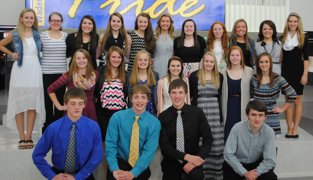New and current Wadena-Deer Creek NHS students attending the induction ceremony Oct. 20 at WDC Middle/High School included, back, from left: Marissa Jahnke, Elise Kallevig, Morgan Zeise, Jennifer Craig, Lauren Soroko, Carrie Nelson, Rylie Langer, Kendra Evans, Maddy Hinojos, Katy Wegscheid, and Danyel Post; middle, from left: Jessica Langer, Beth Schmitz, Hannah Vorderbruggen, Kassi Peterson, Mikena Formanek, Kelsie Pierce and Briana Malone; front, from left: Austin Sutherland, Jarrett Pettit, Wyatt Fitzsimmons and Michael Small. (Photo by Dawn Hamelau, WDC Schools)