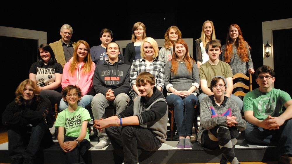"WDC High School will present the one-act play, ""The Chair Play,"" on Thursday, Jan. 22 at 7:30 p.m. in the Wadena Memorial Auditorium. Pictured are the cast and crew (front row, from left): Logan Taggart, Michael Schmidt, Mitchel Haman, Grace Mertens and David Wegscheid; middle row, from left: Hope Dumpprope, Beth Schmitz, Isaac Berger, Samantha Kirkland, Alyssa Glister and Michael Small; back row, from left: Mr. Jay Patterson, director; Devyn Norenberg, Esther Berger, Araya Magnuson, Liz Peterson and Taylor Dirks. Not pictured: Anissa Mench, Hope Norenberg, Derek Plautz and Jasmyn Wood. (Photo by Dana Pavek, WDC Schools)"