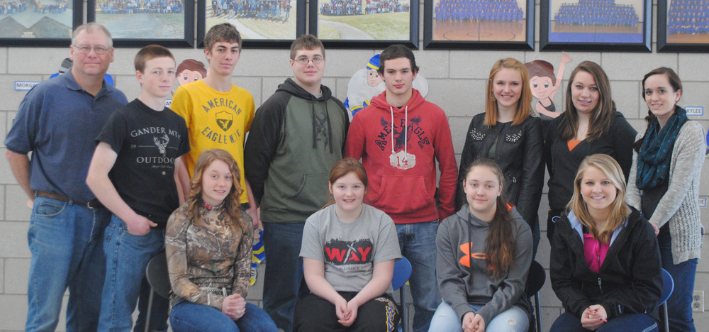WDC FFA members include (front row, from left): Starr Hanson, Molly Gilji, Stacy Hundeby and Madison Barthel; back, from left: Richard Muckala, FFA advisor; Jack Goeden, Tanner Horn, Ethan Benson, Mitch Janson, Beth Schmitz, Emily Astle and Briana Malone. Not pictured: Olivia Schwartz, Ryan Grendahl, Jordan Brink, Jezebel Snyder, Abbie Clayton, Zac Schertler and Jordan Woessner. (Photos by Dana Pavek, WDC Schools)