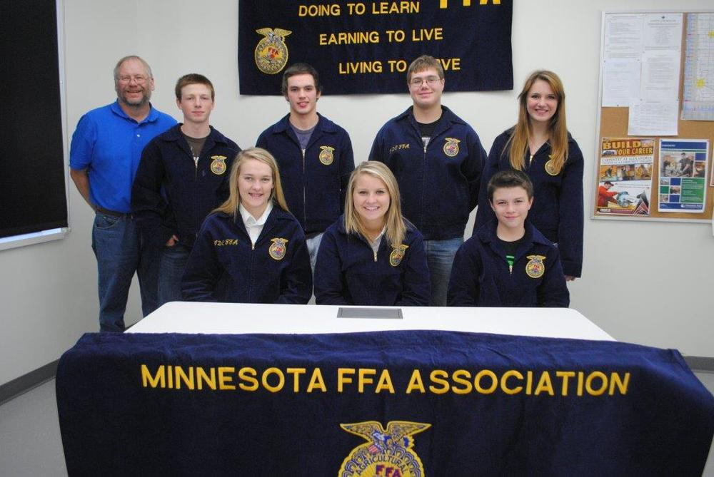 WDC FFA officer team (front from left): Olivia Schwartz, secretary; Madison Barthel, treasurer; Ryan Grendahl, reporter; back from left: Richard Muckala, advisor; Jack Goeden, officer at large; Mitch Janson, vice president; Ethan Benson, president; and Beth Schmitz, sentinel.