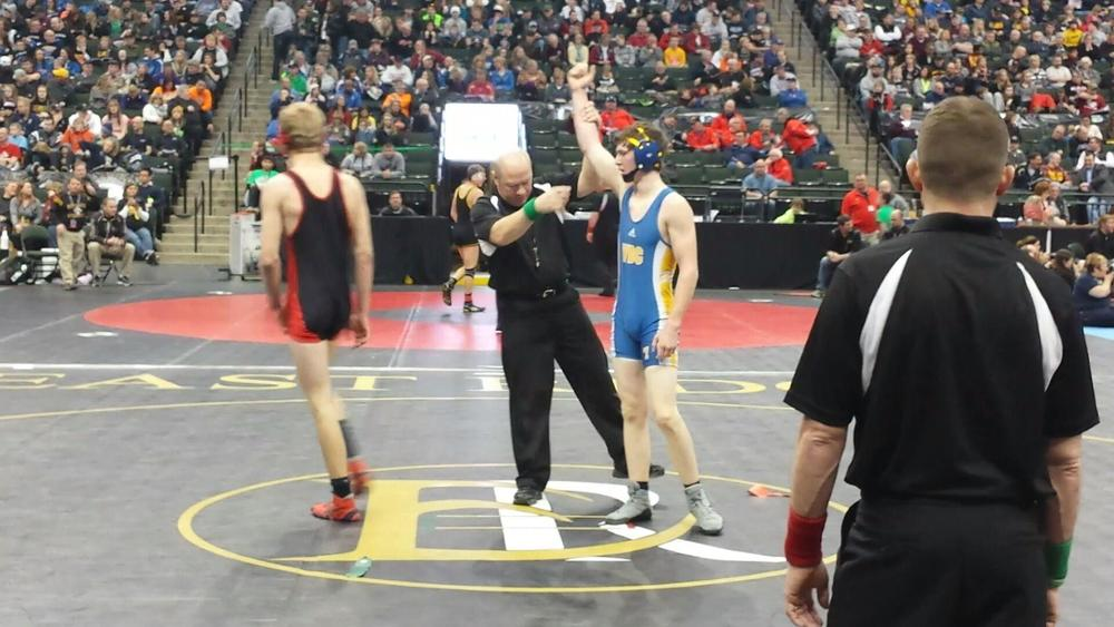WDC Wrestling assistant Curt Leeseberg snapped this photo moments after Carter Wright won his first State match this morning.