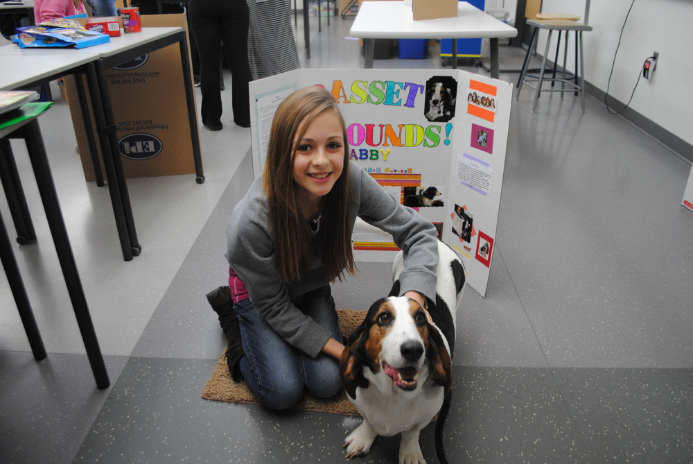 WDC sixth-grader Allyson Swenson brought in her basset hound, Abby, for her science expo project. She gave an overview of the basset hound breed and why Abby makes a great family pet.