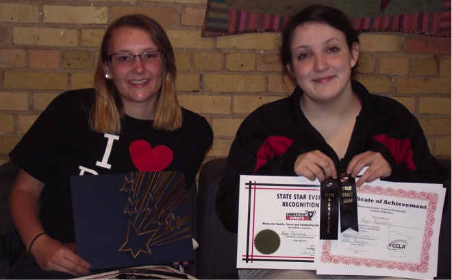 Jessica Langer (left) and Hope Norenberg with their awards from Minnesota State FCCLA Conference. (Photos by Cindi Koll)