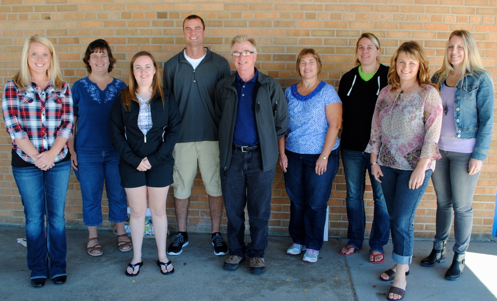 Pictured are several of Wadena-Deer Creek's new teachers and staff who were attending the fall workshop on Aug. 25, from left to right: Rachael Hammer, fourth-grade teacher; Deanna Lipinski, special education teacher; Kelsey Schmidt, business teacher; Alex Brochpahler, phy ed teacher; James Brewer, math teacher; Joan Goeden, third-grade teacher; Tori Ehlert, sixth-grade teacher; Kim Stafki, middle/high school nurse; and Stephanie Pulver, sixth-grade teacher. (Photo by Dana Pavek, WDC Schools)