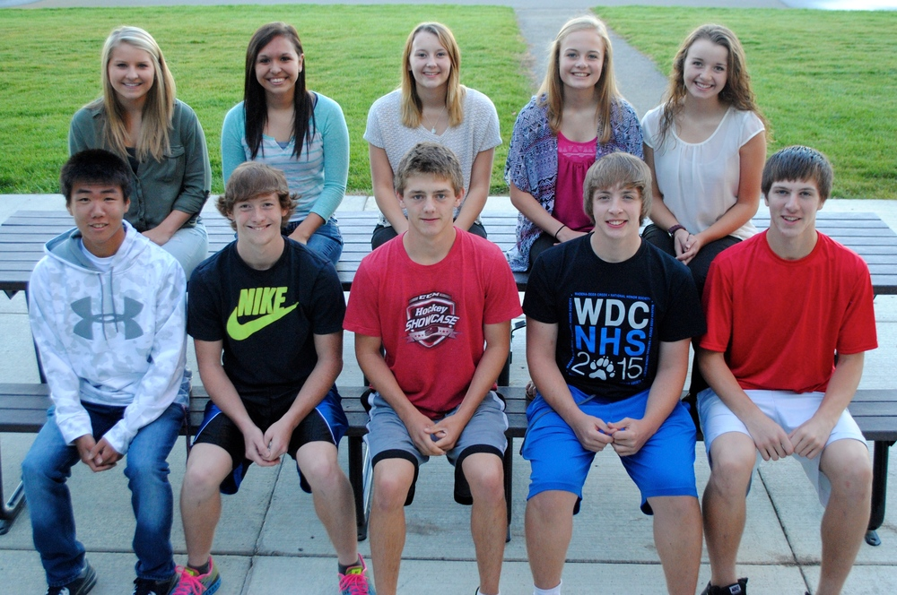 "Wadena-Deer Creek High School announces the 2015 Homecoming candidates, back row, from left: Madison Barthel, Athea Perez, Jessica Langer, Hannah Vorderbruggen and Lauren Soroko; front row, from left: Keon Woo ""Jimmy"" Kim, Thomas Brekke, Austin Sutherland, Jarrett Pettit and Wyatt Fitzsimmons. (Photo by Dana Pavek, WDC Schools)"
