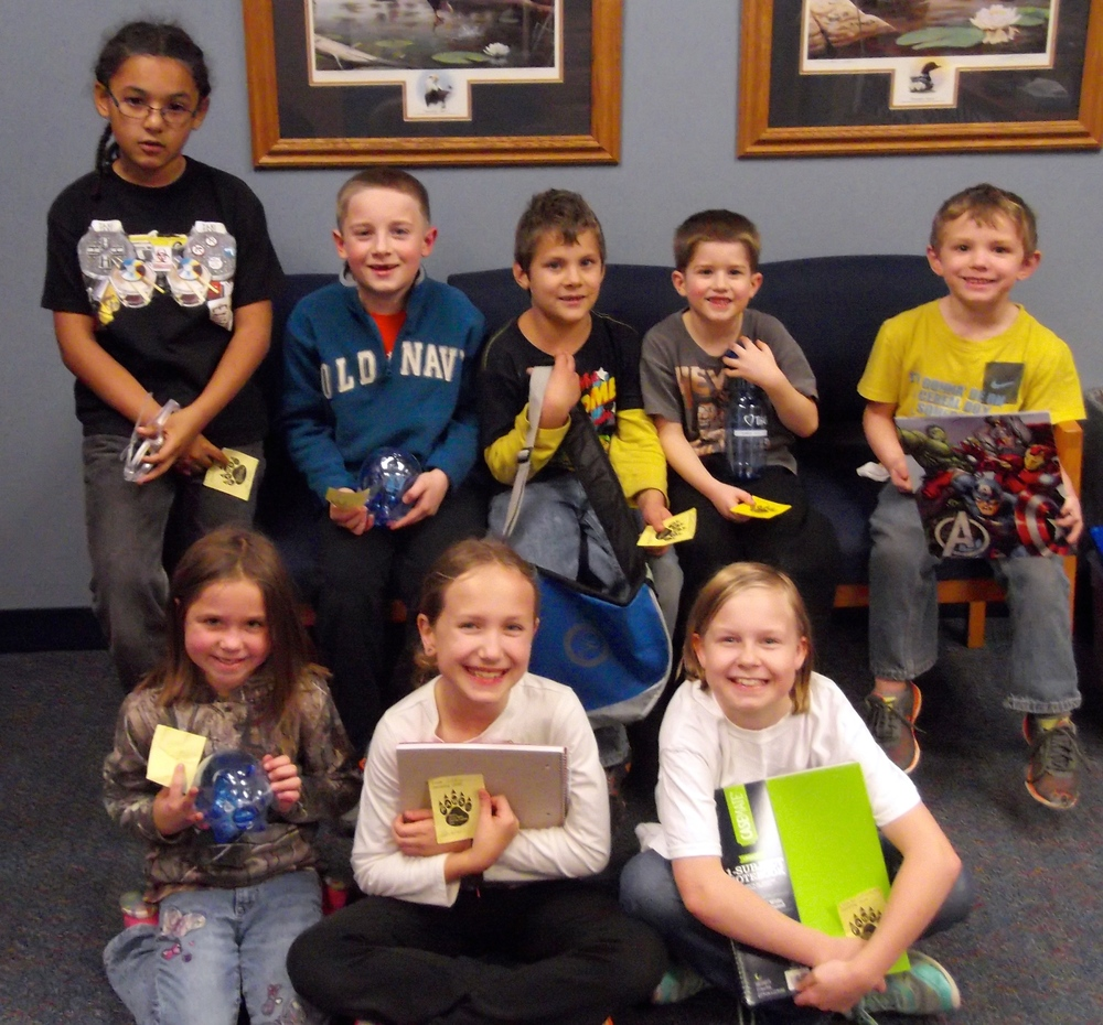 The following students were recognized for positive behavior recently at Wadena-Deer Creek Elementary, front, from left: Naveya McManigle, Libby Hartman and Kelanie Oldakowski; middle row, Mikael Briggs, Brayden Lenk, Salvador Lopez Arevalo, Wyatt Eggert and Aiden Moats. Not pictured Gia Licari. (Photo by Lisa Schmidt, WDC Elementary)