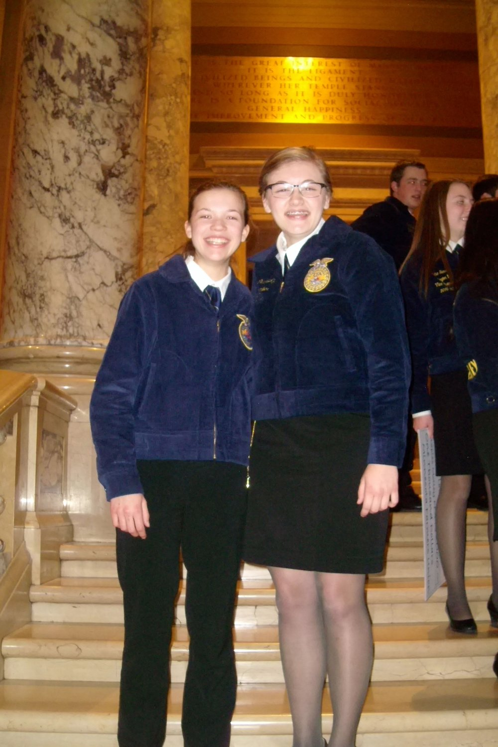 WDC FFA member Jezebel Snyder meets with Minnesota State FFA Reporter Rebecca Paskewitz (Staples-Motley) at the Minnesota State Capitol.
