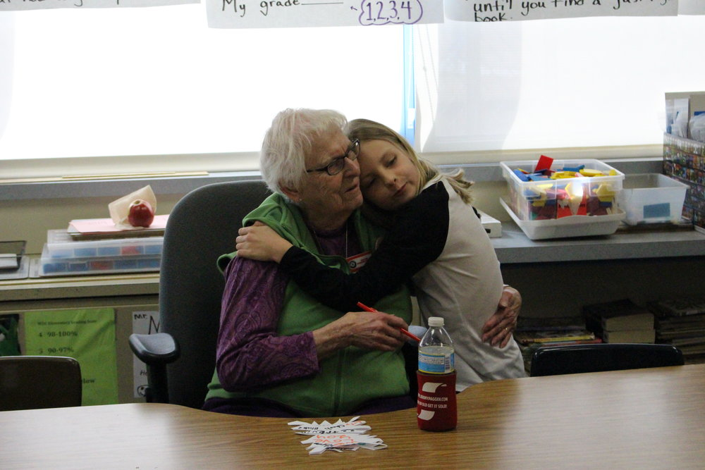 Lily Parker gives Grandma Leona a long, heart-felt hug.