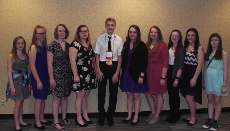 Wadena-Deer Creek FCCLA members attending State FCCLA Conference, include, from left, Emma Mehl, Paige Barthel, Frannie Bakken, Hayley Maloney, Elliot Doyle, Caitlin Savage, Jordan Brink, Emma Taggart, Joslynn Judd, and Angela LeComte.