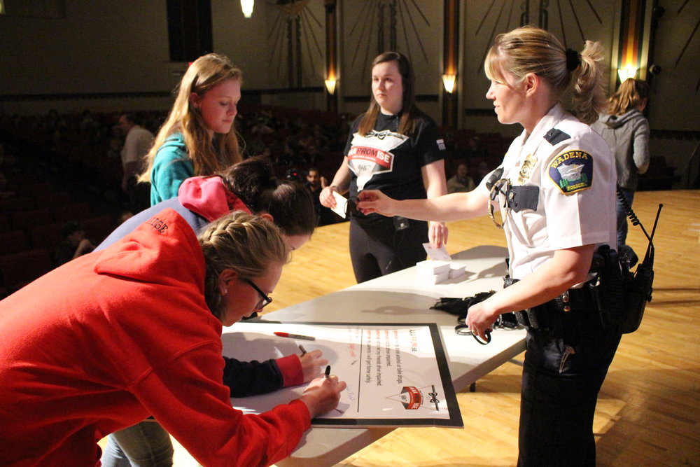 Wadena Police Chief Naomi Plautz was there for the presentation and for the pledge signing.