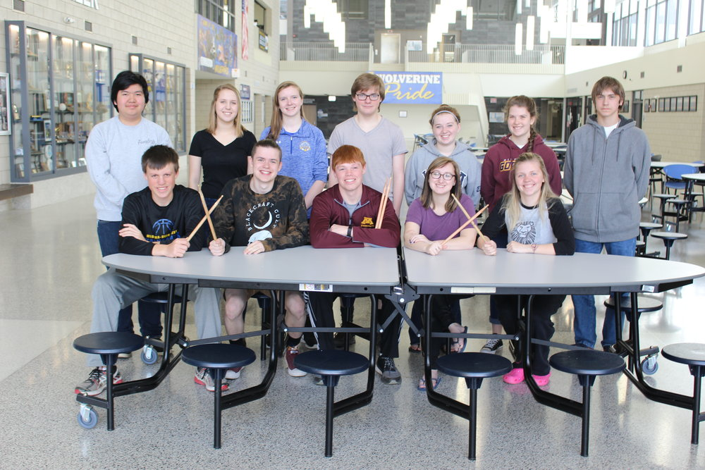 Students earning Superior ratings at the Solo and Ensemble Subsection Contest, sitting, from left: Noah Ross, Thomas Quincer, Tyler Wheeler, Nicole Miller and Gabi Ross; back, from left: Kongphop Phaipleard, Maggie Carlson, Jasmyn Wood, Nick Jones, Madi Phillips, MacKenzie Salge, and Jayson Young.