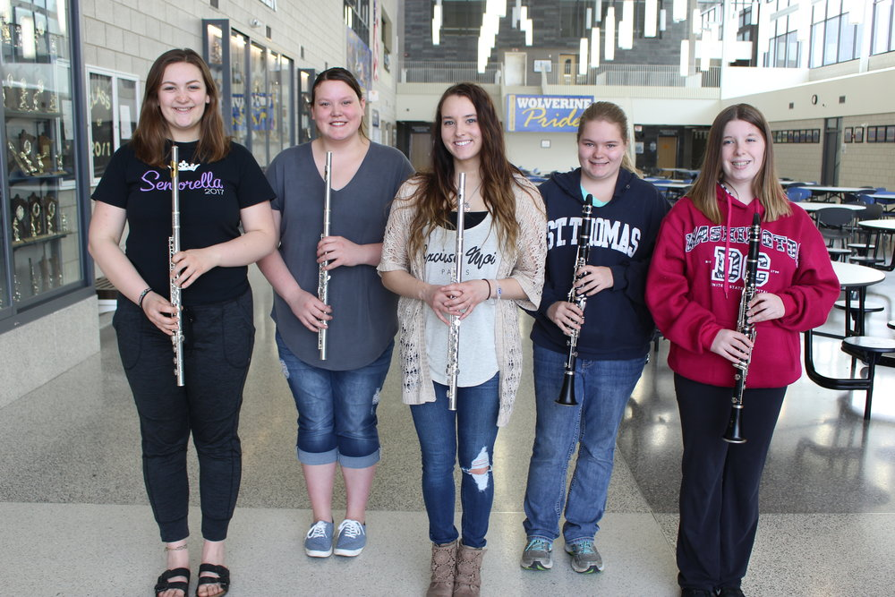 Students receiving excellent ratings at the Solo and Ensemble Subsection Contest, from left: Maggie Schmitz, Karon Johnson, Kloe Pettit-Sperling, Hanah Rohr and Eva Baron.