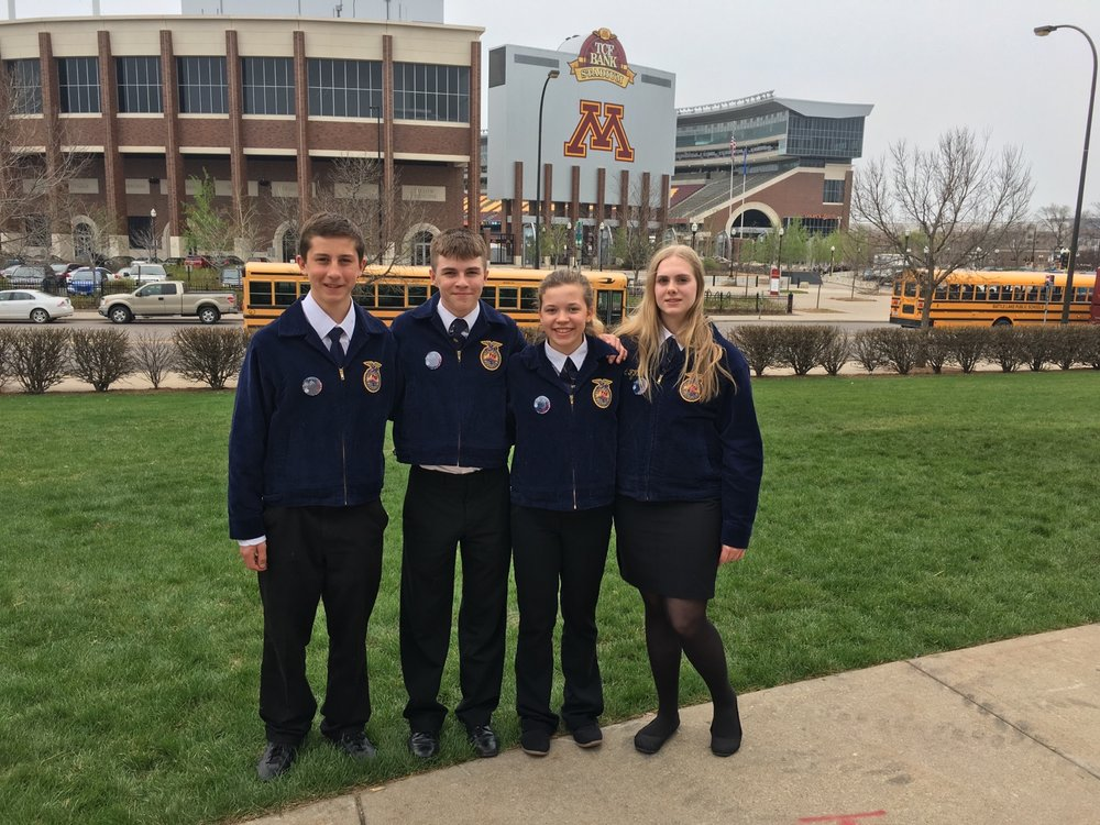 Wadena-Deer Creek FFA members, from left, Joshua Tabery, Ryan Grendahl, Bel Snyder and Emily Benson attended the 88th Minnesota FFA Convention at the University of Minnesota. Photo by Richard Muckala, WDC Schools.