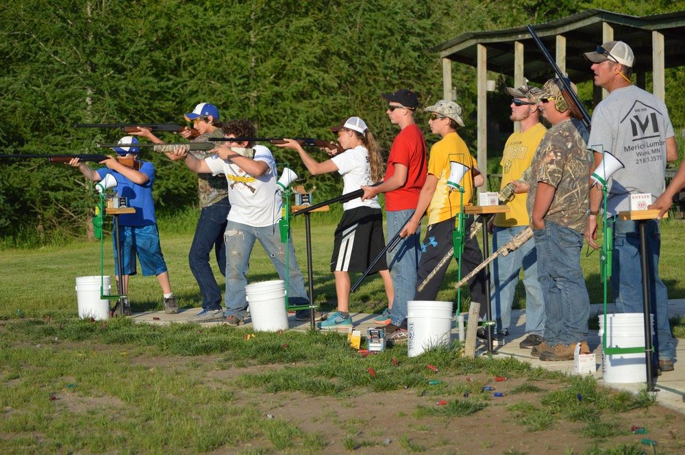 Wadena-Deer Creek clay-target shooting team members practice at the Knob Hill Sportsman Club.